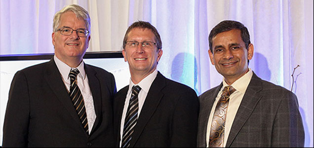 EAPS Distinguished Science Alumni Recipient - Rick Knabb with Dean Roberts and Dr. Chaubey, EAPS Dept. Head