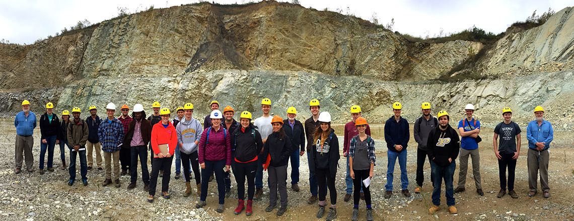 Students at Kentland Crater