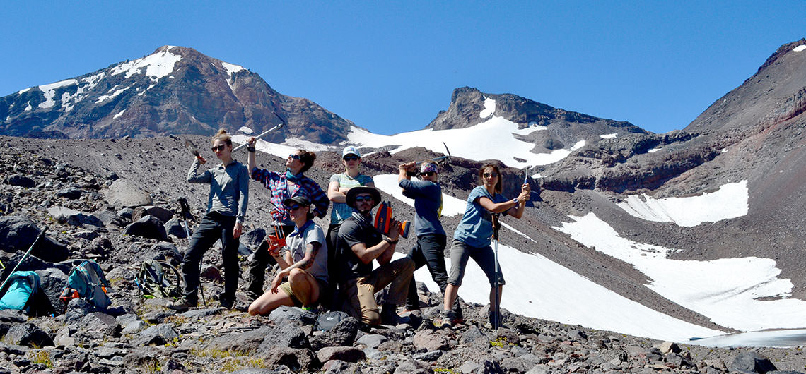 Students at Oregon glacier